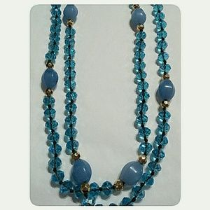 Jewelry - Long Stone and Glass Bead Necklace Blue 64""